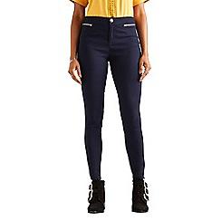 Yumi - Blue zipper pocket jeggings
