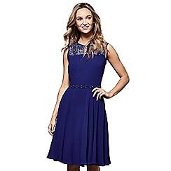 Yumi - Blue floral print lace 'Elle' sleeveless skater dress