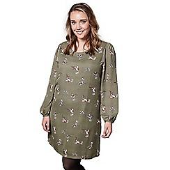 Yumi Curves - Green bird print 'Ariella' mini tunic dress