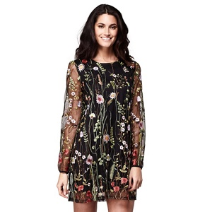 Yumi Black floral embroidered 'Noor' tunic dress