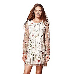 Yumi - Ivory sheer 'Aurora' embroidered floral dress