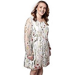 Yumi Curves - Ivory floral print 'Ocean' mini tunic dress