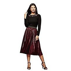 Yumi - Pink metallic pleat skirt