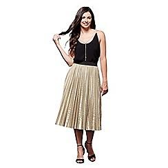 Yumi - Gold metallic pleat skirt
