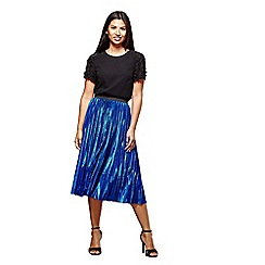 Yumi - Blue metallic pleat skirt