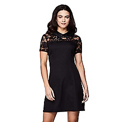 Yumi - Lace dress with embellished swan collar dress