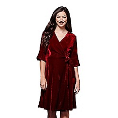Yumi - Flute sleeves velvet wrap dress