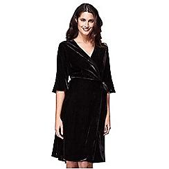 Yumi - Black velvet frill sleeves wrap dress