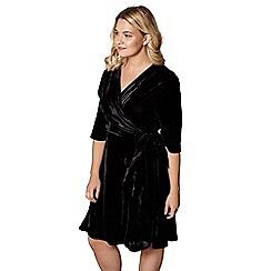 Yumi Curves - Black velvet 'Carla' flute sleeves wrap dress