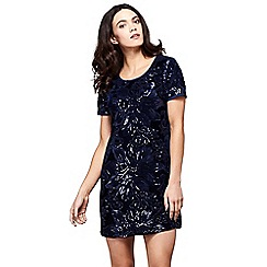 Yumi - Blue floral print 'Naima' sequined party tunic dress