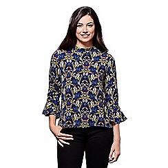 Yumi - Blue retro flower print tunic top