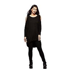 Yumi - Black knit 'Aya'oversized cold shoulder tunic  top