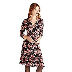 Yumi - Black floral print 'Arissa' mini wrap dress