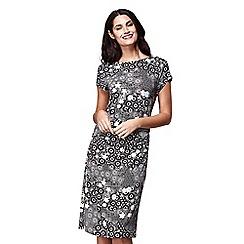 Yumi - Black floral print 'Keeley' midi jersey dress