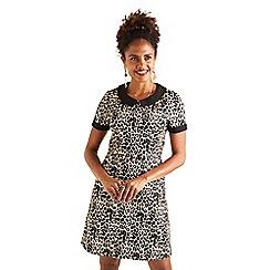 Yumi - Black leopard print 'Jazmin'mini tunic dress