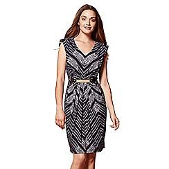 Yumi - Blue striped 'Skylar' belted dress