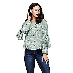 Yumi - Bird patterned flute sleeves top