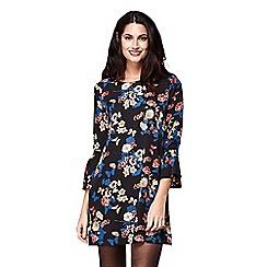 Yumi - Black floral print 'Elisha' mini tunic dress