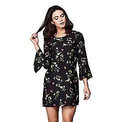 Yumi - Black garden bird printed shift dress