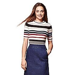 Yumi - Multicoloured ribbed contrasting stripe jumper