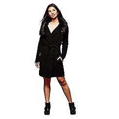 Yumi - Black faux fur pocket zip cardigan
