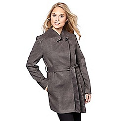 Yumi - Grey high neck belted wrap coat