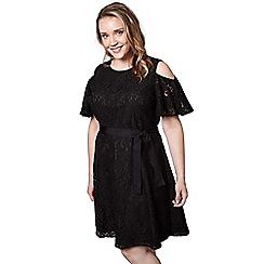 Yumi Curves - Black floral print lace 'Ava-grace' mini skater dress