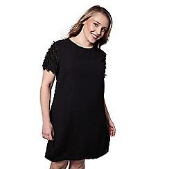 Yumi Curves - Black 3d floral print 'Miah' mini tunic dress