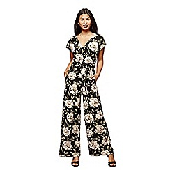 Yumi - Black flower print jumpsuit