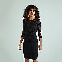 Yumi - Black sheer lace 'Cherry' knee length bodycon dress