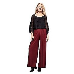 Yumi - Red crinkled wide leg trousers