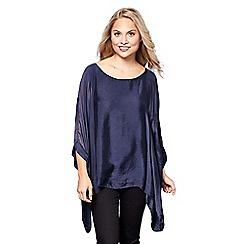 Yumi - Blue oversized batwing sleeve top