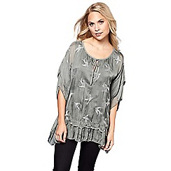 Yumi - Grey embroidered bird frilled top