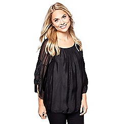 Yumi - Black ruched sheer sleeve top
