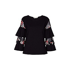 Yumi - Black embroidered ruffle sleeve tunic top