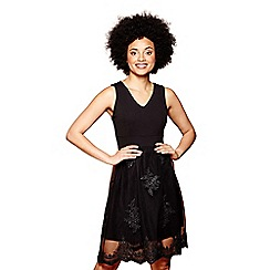 Yumi - Black lace sequin 'Milla' mini skater dress