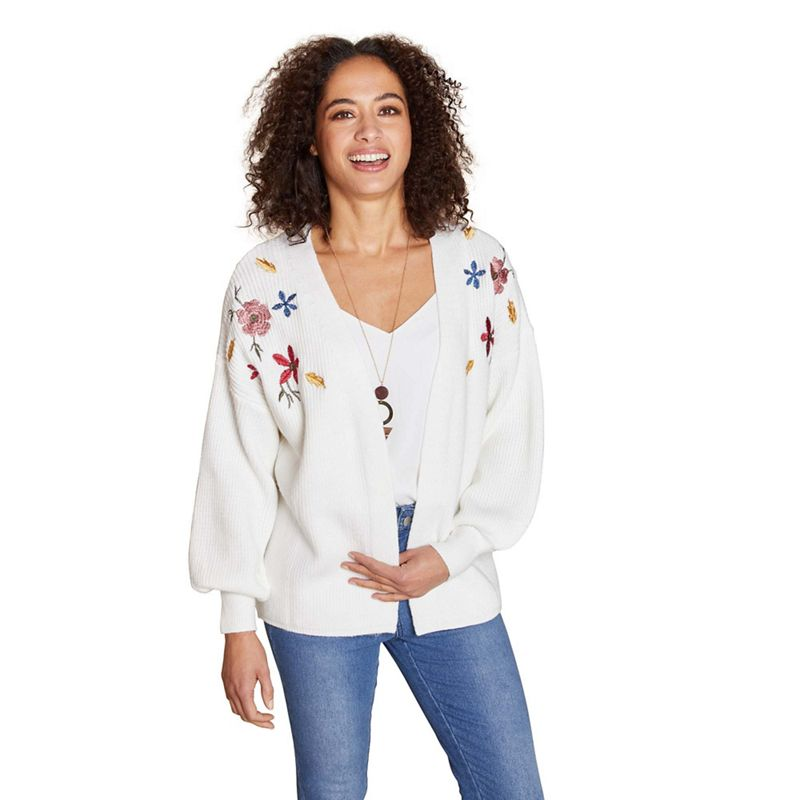 Yumi - Ivory Chunky Knit Embroidered Cardigan