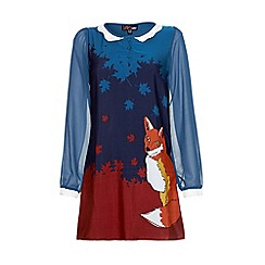 Yumi - Blue Fox print long sleeve dress