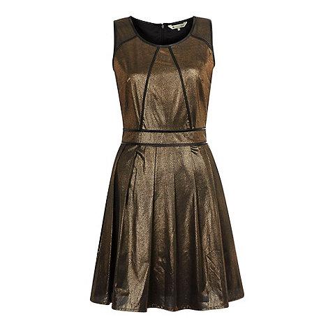 Yumi - Gold Metallic skater dress