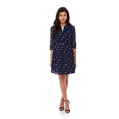 Yumi - Navy Gold Yumi Bird Print Dress