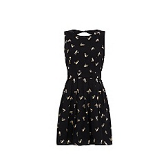 Yumi - Black Gold Owl Print Skater Dress