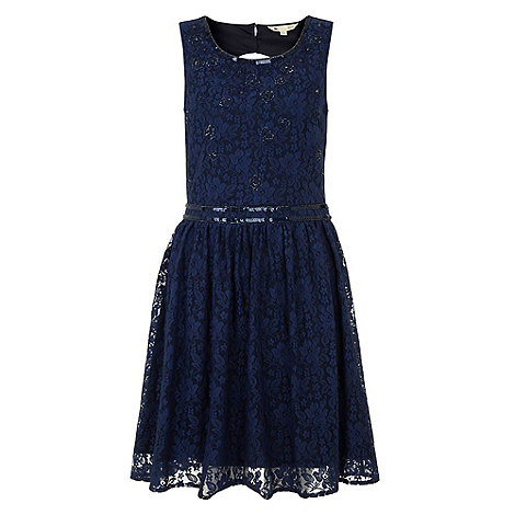 Yumi - Navy Sparkle luxe lace dress