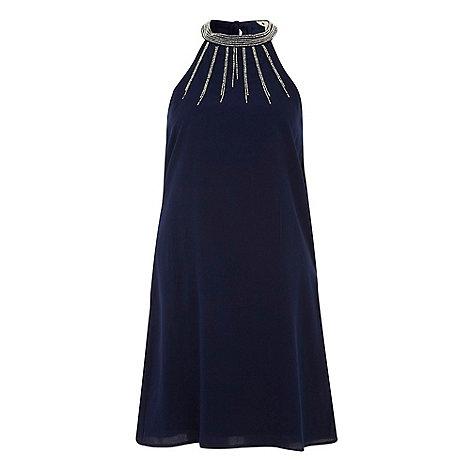 Yumi - Navy Dazzle halter dress