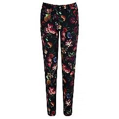 Yumi - Black floral print stretch trousers