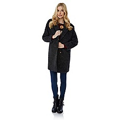 Yumi - Black oversized boucle coat