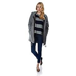 Yumi - Grey lace trim parka hood jacket