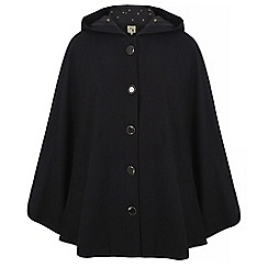 Yumi - Black cape hood coat