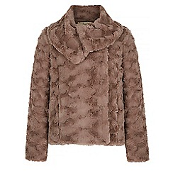 Yumi - Brown faux fur shawl collar jacket