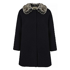 Yumi - Black faux fur collar swing coat