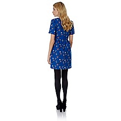 Yumi - Blue Telephone Print Tea Dress